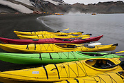 Deception Island, off the Antarctic Peninsula.  Kayaks launched near Pendulum Cove's thermal waters in Whaler's Bay, a protected harbor. Deception Island is the site of a circular flooded volcanic caldera. Conditions had to be perfect in order to kayak outside of the Bay, and they were. On the shore are rusting remains of Whaling operations (1911 to 1931) and the ruins of a WWII British base, Port Foster (1944-1967). Evacuated after a volcanic eruption, then closed permanently in 1969 after another eruption. Chinstrap penguins in the steam of the volcanics that are still warming the beach sand at Whaler's Bay.