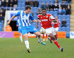 Bristol City's Jay Emmanuel-Thomas chases down Colchester United's Tom Eastman - Photo mandatory by-line: Dougie Allward/JMP - Mobile: 07966 386802 22/03/2014 - SPORT - FOOTBALL - Colchester - Colchester Community Stadium - Colchester United v Bristol City - Sky Bet League One