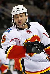 March 23, 2011; San Jose, CA, USA;  Calgary Flames defenseman Mark Giordano (5) warms up before the game against the San Jose Sharks at HP Pavilion. San Jose defeated Calgary 6-3. Mandatory Credit: Jason O. Watson / US PRESSWIRE