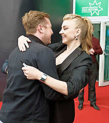 Edinburgh International Film Festival, Tuesday, 26th June 2018<br /> <br /> IN DARKNESS (EUROPEAN PREMIERE)<br /> <br /> Pictured:  Natalie Dormer greets Director of Photography Si Bell<br /> <br /> (c) Alex Todd | Edinburgh Elite media