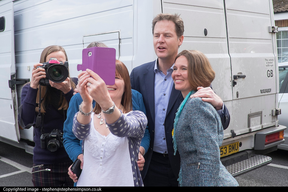 © Licensed to London News Pictures. 27/04/2015. Wimborne, UK Deputy Prime Minister Nick Clegg and Liberal Democrat candidate for Mid Dorset and North Poole Vikki Slade visit Tops Day Nursery in Wimborne, Dorset today 27 April 2015 to discuss the Liberal Democrats' record of delivery in child-care and our policies for the next parliament.. Photo credit : Stephen Simpson/LNP