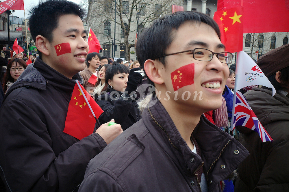 Pro Chinese supporters during Olympic torch relay in London 6 April 2008 UK