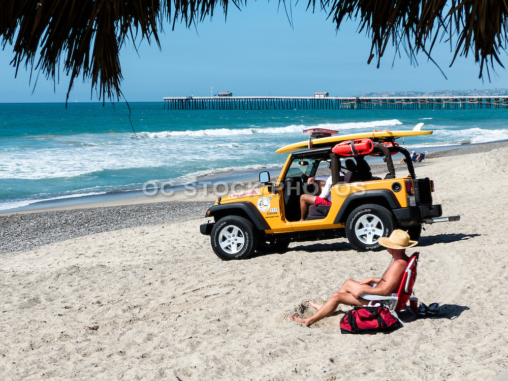 Lifeguard Jeep Parked on the Beach by the San Clemente Pier