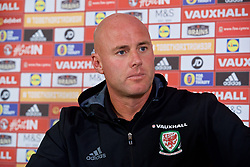 CARDIFF, WALES - Friday, August 25, 2017: Wales' Under-21 manager Robert Page during a press conference at the Vale Resort to announce his squad for the forthcoming UEFA Under-21 Championship qualifying Group 8 game against Switzerland. (Pic by David Rawcliffe/Propaganda)