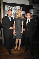 Left to right, GRAHAM BOYD, CLAUDIA SCHIFFER and wine maker RICHARD GEOFFROY at a party to launch the Dom Perignon OEotheque 1995 held at The Landau, Portland Place, London W1 on 26th February 2008.<br />