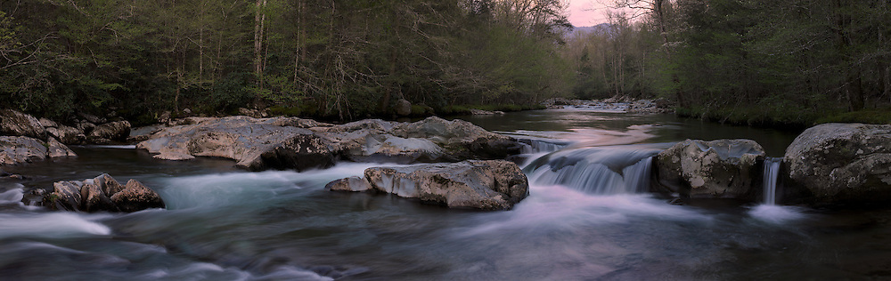 Gentle cascades of the Little Pigeon River with the soft blush of approaching dusk. Great Smoky Mountains National Park