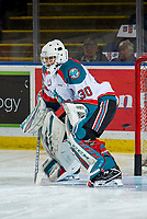 KELOWNA, CANADA - FEBRUARY 2: Roman Basran #30 of the Kelowna Rockets warms up in net against the Kamloops Blazers  on February 2, 2019 at Prospera Place in Kelowna, British Columbia, Canada.  (Photo by Marissa Baecker/Shoot the Breeze)