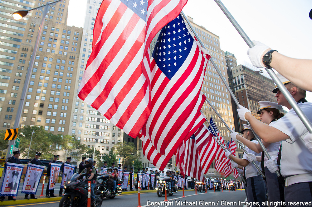 24 Sep 2017 Manhattan, New York United States of America // USMA cadets hold a battery of flags at the Stephen Siller Tunnel to Towers run at the World Trade Center site  Michael Glenn  /