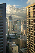 Tall Buildings and hotels in downtown Waikiki, Oahu, Hawaii