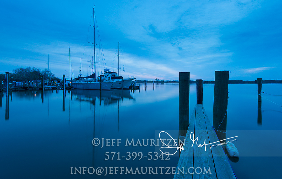 Predawn light over the marina at Oxford, Maryland on the Eastern Shore.