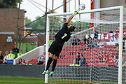 Girona goalkeeper Iraizoz (1) tips the ball over the goal during the Pre-Season Friendly match between Nottingham Forest and Girona at the City Ground, Nottingham, England on 25 July 2017. Photo by Jon Hobley.