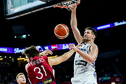 Gasper Vidmar of Slovenia vs Zanis Peiners of Latvia during basketball match between National Teams of Slovenia and Latvia at Day 13 in Round of 16 of the FIBA EuroBasket 2017 at Sinan Erdem Dome in Istanbul, Turkey on September 12, 2017. Photo by Vid Ponikvar / Sportida