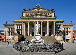 Konzerthaus and Schiller Statue in  Gendarmenmarkt square in Mitte Berlin Germany