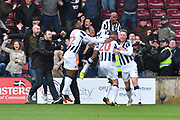 Millwall celebrate second goal scored by Millwall striker Steve Morison (20) during the EFL Sky Bet League 1 Play Off Second Leg match between Scunthorpe United and Millwall at Glanford Park, Scunthorpe, England on 7 May 2017. Photo by Ian Lyall.