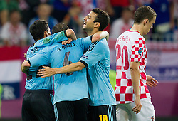 Jesus Navas of Spain, Andres Iniesta of Spain and Cesc Fabregas of Spain celebrate during the UEFA EURO 2012 group C match between  Croatia and Spain at PGE Arena Gdansk on June 18, 2012 in Gdansk / Danzig, Poland. (Photo by Vid Ponikvar / Sportida.com)