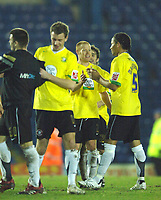 Photo: Paul Greenwood.<br />Bury v Hereford United. Coca Cola League 2. 30/01/2007. Simon Travis, centre, leads the Hereford celebrations at the final whistle