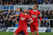 Leyton Orient defender Alan Dunne  and Leyton Orient defender Mathieu Baudry  look to head the ball away from Hartlepool United forward Scott Fenwick  during the Sky Bet League 2 match between Hartlepool United and Leyton Orient at Victoria Park, Hartlepool, England on 15 November 2015. Photo by Simon Davies.