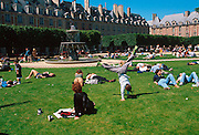 FRANCE, PARIS, PLACE DES VOSGES Oldest and perhaps most beautiful square in city, c1612 by Metezeau, newly restored historic district