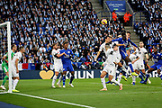 Leicester City midfielder Onyinye Wilfred Ndidi (25) gets in a header during the Premier League match between Leicester City and Burnley at the King Power Stadium, Leicester, England on 10 November 2018.