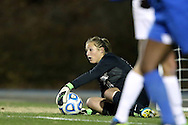 30 November 2013: North Carolina's Anna Sieloff makes a save. The University of North Carolina Tar Heels played the University of California Los Angeles Bruins at Fetzer Field in Chapel Hill, North Carolina in a 2013 NCAA Division I Women's Soccer Tournament Quarterfinal match. UCLA won the game 1-0 in two overtimes.