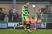 Forest Green Rovers Dayle Grubb(8) scores a goal 2-2 and celebrates during the EFL Sky Bet League 2 match between Forest Green Rovers and Cambridge United at the New Lawn, Forest Green, United Kingdom on 20 January 2018. Photo by Shane Healey.
