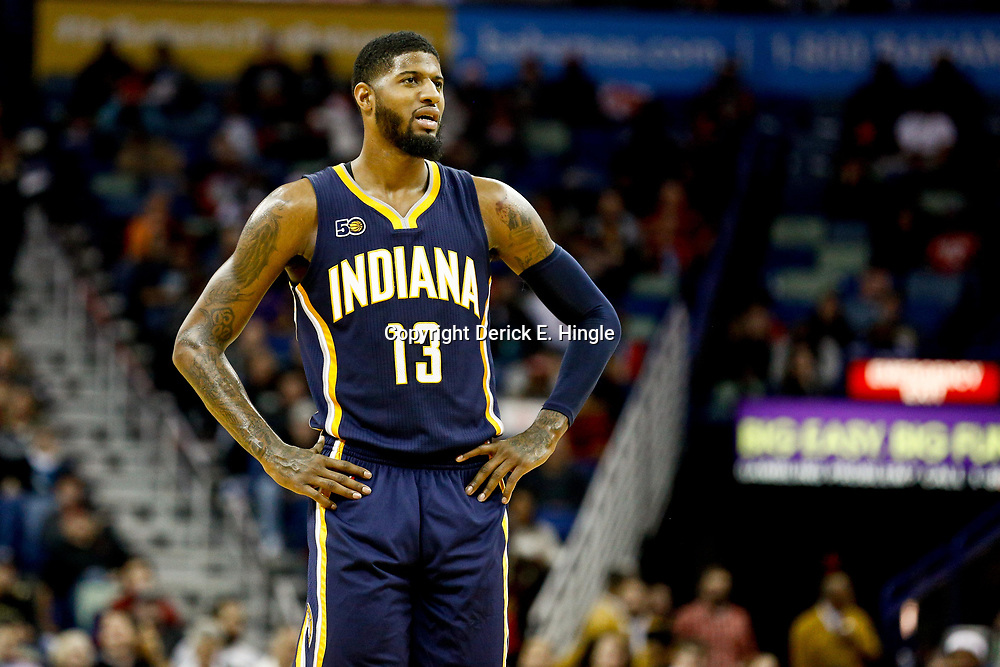Dec 15, 2016; New Orleans, LA, USA; Indiana Pacers forward Paul George (13) against the New Orleans Pelicans during the second quarter of a game at the Smoothie King Center. Mandatory Credit: Derick E. Hingle-USA TODAY Sports