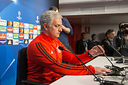 Manchester United Manager Jose Mourinho during the Manchester United Football Club press conference ahead of the Champions League tie at the Ramon Sanchez Pizjuan Stadium, Seville, Spain on 20 February 2018. Picture by Phil Duncan.
