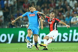 August 22, 2017 - Nice, France - Marek Hamsik of Napoli and Wesley Sneijder of Nice  during the UEFA Champions League Qualifying Play-Offs round, second leg match, between OGC Nice and SSC Napoli at Allianz Riviera Stadium on August 22, 2017 in Nice, France. (Credit Image: © Matteo Ciambelli/NurPhoto via ZUMA Press)