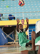 Solange Cyamenyerwa playing sit ball. Claudine is a member of the National Paralympic Committee (NPC). NPC works with disabled people and sport throughout Rwanda, from grass roots to international level, using sport as a means of social integration.