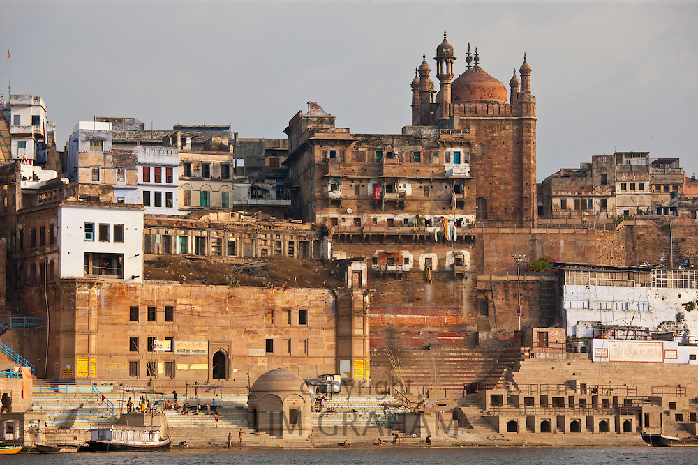 Muslim Mosque, Beni Madhaw Kadharara at Panch Ganga Ghat by The Ganges River in Holy City of Varanasi, India