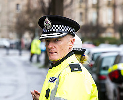 """Pictured: Superintendent Fraser Candlish, from Police Scotland, <br /> The """"In Town, Slow Down""""  road safety campaign was launched today in Edinburgh to encourage drivers to watch their speed in built-up areas, amid figures showing someone is stopped for speeding in Scotland every nine minutes. Superintendent Fraser Candlish from Police Scotland, and John Alexander from Scottish Ambulance Service were on hand to help with the launch<br /> Ger Harley 