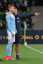 October 6, 2017 - Melbourne, Victoria, Australia - Melbourne, Victoria, Australia - Melbourne City manager Warren Joyce gives instructions to Luke Brattan (#26) during the round 1 match between Melbourne City and Brisbane Roar at AAMI Park in Melbourne, Australia during the 2017/2018 Australian A-League season. (Credit Image: © Theo Karanikos via ZUMA Wire)