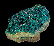 Dioptase - bright green crystals with chrysocolla. Tantara mine, Katanga, Congolese Republic.