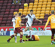 Dundee&rsquo;s Julen Etxabeguren heads clear - Motherwell v Dundee - Ladbrokes Premiership at Fir Park<br /> <br /> <br />  - &copy; David Young - www.davidyoungphoto.co.uk - email: davidyoungphoto@gmail.com