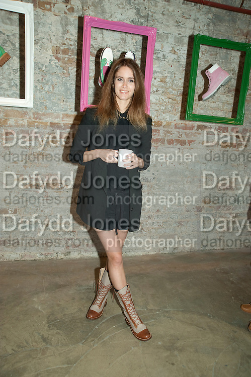 JADE WILLIAMS, Design Your Own Timberland breakfast and Autumn/ Winter 2011 preview. Timberland. 1 Fournier St. London. Followed by an art tour by Julia Royce. 8 June 2011. <br /> <br />  , -DO NOT ARCHIVE-© Copyright Photograph by Dafydd Jones. 248 Clapham Rd. London SW9 0PZ. Tel 0207 820 0771. www.dafjones.com.