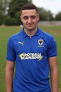 AFC Wimbledon midfielder Anthony Hartigan (8) during the AFC Wimbledon 2018/19 official photocall at the Kings Sports Ground, New Malden, United Kingdom on 31 July 2018. Picture by Matthew Redman.
