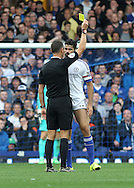 Diego Costa of Chelsea is booked by referee Andre Marriner during the Barclays Premier League match against Everton at Goodison Park, Liverpool.<br /> Picture by Michael Sedgwick/Focus Images Ltd +44 7900 363072<br /> 12/09/2015