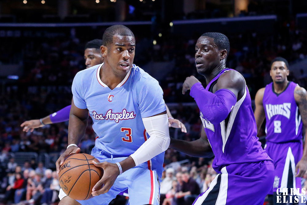 02 November 2014: Sacramento Kings guard Darren Collison (7) defends on Los Angeles Clippers guard Chris Paul (3) during the Sacramento Kings 98-92 victory over the Los Angeles Clippers, at the Staples Center, Los Angeles, California, USA.