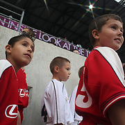 Young soccer players watch the action during the New York Red Bulls V Chicago Fire Major League Soccer regular season match at Red Bull Arena, Harrison. New Jersey. USA. 6th October 2012. Photo Tim Clayton