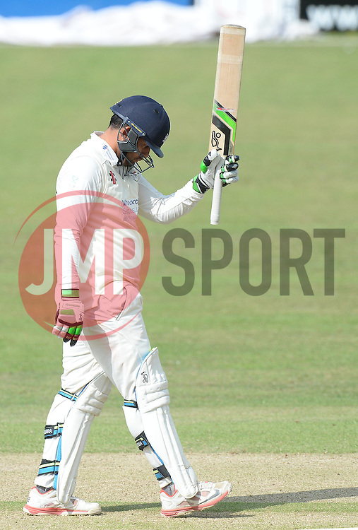 Kieran Noema-Barnett of Gloucestershire celebrates his half century. - Photo mandatory by-line: Alex James/JMP - Mobile: 07966 386802 - 17/07/2015 - SPORT - Cricket - Cheltenham - Cheltenham College - Gloucestershire v Leicestershire - LV=County Championship Division 2