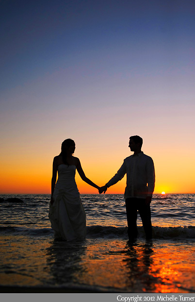 A sunset at a Nuevo Vallarta Wedding.  Image by Puerto Vallarta Wedding Photographer Michelle Turner.