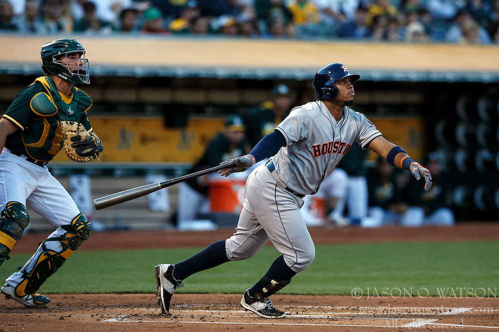 OAKLAND, CA - JULY 19:  Luis Valbuena #18 of the Houston Astros at bat against the Oakland Athletics during the first inning at the Oakland Coliseum on July 19, 2016 in Oakland, California. The Oakland Athletics defeated the Houston Astros 4-3 in 10 innings.  (Photo by Jason O. Watson/Getty Images) *** Local Caption *** Luis Valbuena