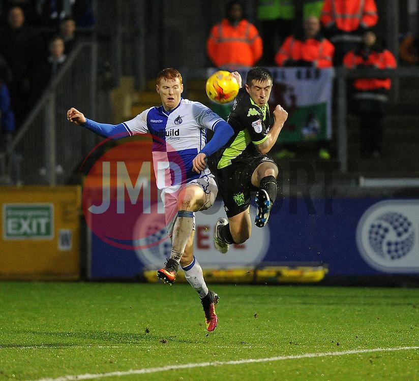 Rory Gaffney of Bristol Rovers is challenged by Craig Jones of Bury - Mandatory by-line: Neil Brookman/JMP - 10/12/2016 - FOOTBALL - Memorial Stadium - Bristol, England - Bristol Rovers v Bury - Sky Bet League One