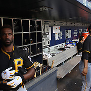 NEW YORK, NEW YORK - June 15: Gregory Polanco #25 of the Pittsburgh Pirates in the dugout preparing to bat with Jung Ho Kang #27 of the Pittsburgh Pirates during the Pittsburgh Pirates Vs New York Mets regular season MLB game at Citi Field on June 15, 2016 in New York City. (Photo by Tim Clayton/Corbis via Getty Images)