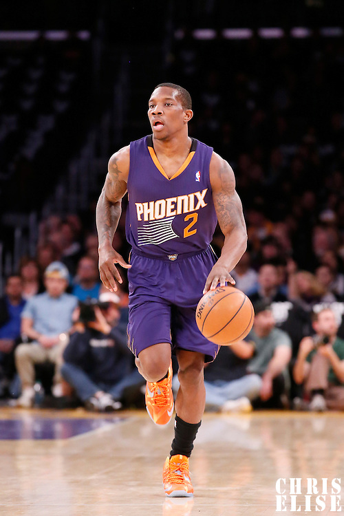10 December 2013: Phoenix Suns point guard Eric Bledsoe (2) brings the ball upcourt during the Phoenix Suns 114-108 victory over the Los Angeles Lakers at the Staples Center, Los Angeles, California, USA.