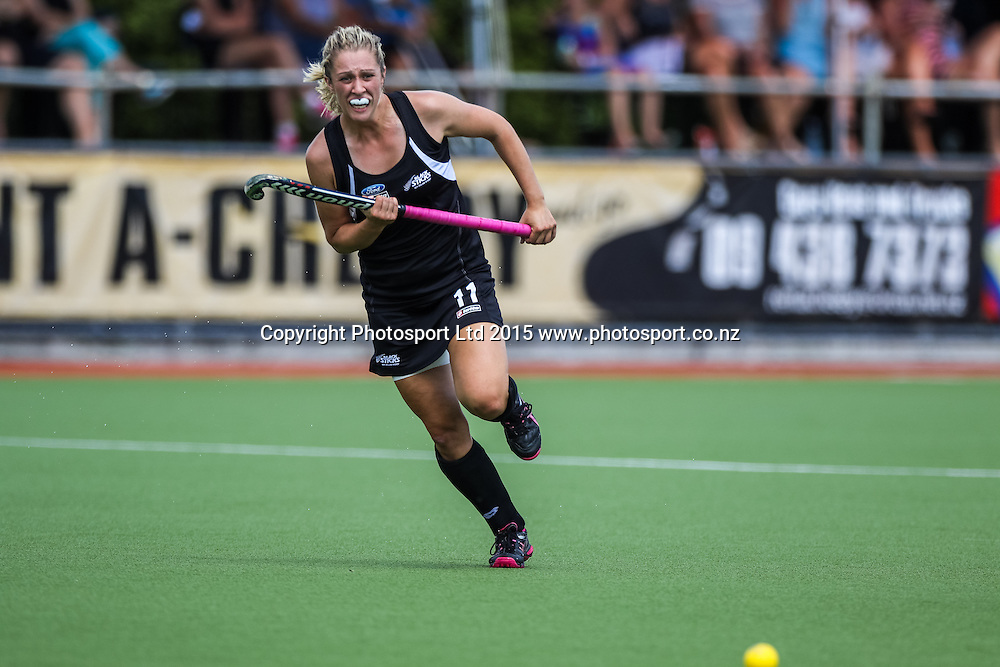 Rachel McCann chases the ball. International Womens Hockey. New Zealand Black Sticks v Canada. Whangarei. New Zealand. Sunday 8 February 2015. Copyright Photo: Heath Johnson / www.photosport.co.nz