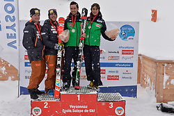 Podium at 2018 World Para Alpine Skiing World Cup slalom, Veysonnaz, Switzerland