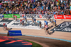 Finish of BOONEN Tom during the 115th Paris-Roubaix (1.UWT) from Compiègne to Roubaix (257 km) at velodrome Roubaix, France, 9 April 2017. Photo by Pim Nijland / PelotonPhotos.com | All photos usage must carry mandatory copyright credit (Peloton Photos | Pim Nijland)