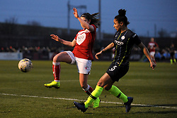 Carla Humphrey of Bristol City blocks a shot from Demi Stokes of Manchester City Women - Mandatory by-line: Nizaam Jones/JMP - 06/01/2019 - FOOTBALL - Stoke Gifford Stadium- Bristol, England - Bristol City Women v Manchester City Women - FA Women's Super League 1
