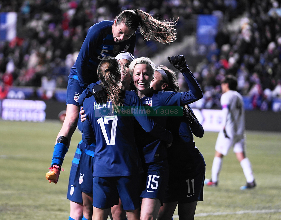 February 28, 2019 - Chester, United States - Megan Rapinoe, Tobin Heath and Mallory Pugh of The United States celebration after Megan Rapinoe^s goal.during the She Believes Cup football match between The United States and Japan at Talen Energy Stadium on February 27, 2019 in Chester, Pennsylvania, United States. (Credit Image: © Action Foto Sport/NurPhoto via ZUMA Press)